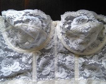 Vintage white lace bustier size 34C
