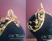 RESERVED - Aspicia ballet headpiece feat. blue crystals on gold wires