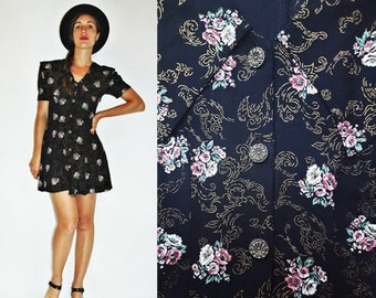 SHOP IS AWAY 1980s Black Floral Print Mini Dress