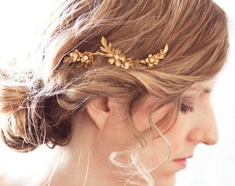 Fall Bridal Hair Comb, Maple Leaf Headpiece, Wedding Hair Comb, Brass Bridal Accessory, Gold Flower, Bridal hair Piece, Flower Comb  #115HC