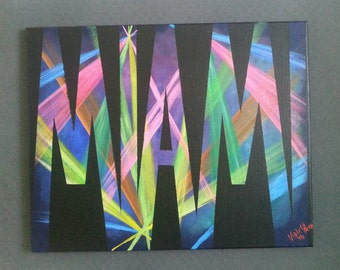 Miami Stage lights Original Painting colorful vibrant nightlife contemporary art