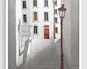 Paris illustration - Morning shine (grey version) - Illustration Giclee Fine Art Print Paris Prints Posters Home Decor Architectural Drawing