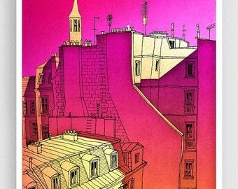 20% OFF SALE: In an old house in Paris 2. - Paris Art Illustration Print Paris art prints Paris decor Home decor Architectural illustration