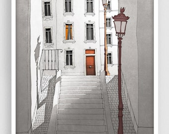 Paris illustration - Morning shine (grey version) - Illustration Giclee Fine Art Print Paris Prints Posters Home Decor Architectural Drawing
