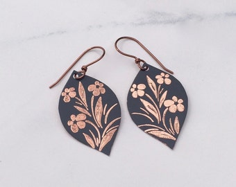 Slated Bloom / Engraved Jewelry / Copper Earrings / Ethnic Jewelry / Unique Copper Jewelry