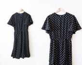 Vintage Dress / Polka Dot Dress / Black Sundress / Flutter Sleeve Maxi Dress