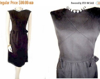 End of Summer Sale Vintage 50s Richard Frontman Dress Metal Zipper bows Black Pique dress designer dress black dress vintage dress metal zip
