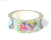 Peacock Washi Tape - Peacock Masking Tape - Floral Washi Tape - Floral Masking Tape - 10 meters