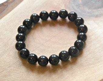 Black mens bracelet, obsidian, black gemstone, stretch, beaded, 10mm ball bracelet, neutral, stacking, bohemian jewelry - everything zen