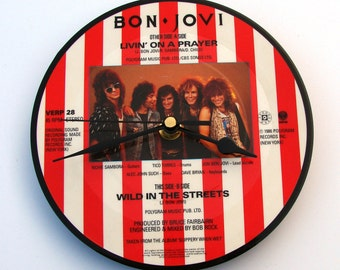 """BONO JOVI """"Livin On A Prayer""""  Vinyl Record CLOCK made from recycled 7"""" picture Disc, unique gift, red and white stripes, retro 1980s, rock,"""