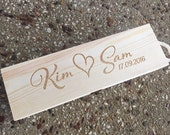Gorgeous love heart design etched wooden wine box with names and date personalised for you. Perfect for anniversaries, wedding day ceremony.