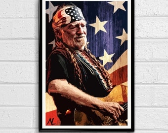 Willie Nelson Illustration, Country Music Icon, Musician Pop Art, Home Decor, Poster Print Canvas