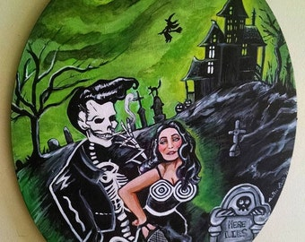 Bad to The Bone Skeleton 1950s Rockabilly Bettie Page The Cramps Halloween Spooky Haunted House Original Painting