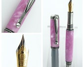 Custom Fountain Pen Beautiful Translucent Pink Acrylic with Antique Pewter Hardware 826FPA