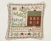 Completed Cross Stitch Primitive Patriotic Handmade Pillow Shelf Sitter Tuck
