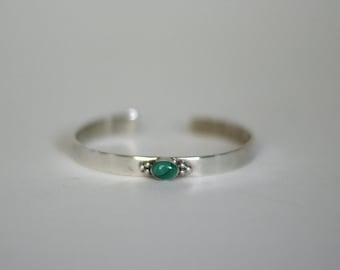 vintage sterling silver malachite bracelet by E. Jackson