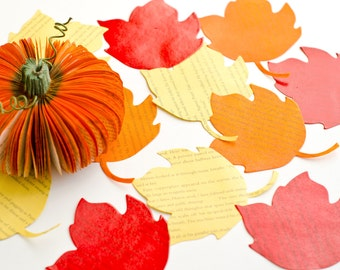 Autumn Maple Leaves - One Dozen (12) Book Page Leaves - Yellow, Red, Orange Maple Leaf - Halloween, Fall and Thanksgiving Table Decoration