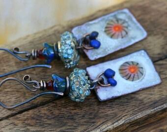 Bohemian Enamel Primitive earrings n198- artisan floral enamel in handmade . retro vintage . earhy primitive . yellow red enameled slabs