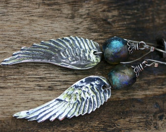 Rustic Solid Sterling Silver Bohemian Jewelry * Angel Wings * n7- bohemian jewelry . artisan jewelry . long boho earrings . cast angel wings