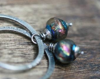 Rustic Artisan Sterling Silver 'Because the Wind is High' Hoops earrings n.85- Iridescence artisan lamp work . shimmery bead . textured