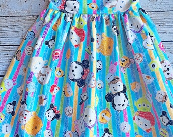 BLUE Tsum Tsum Dress, Tsum Tsum Dress, Disney Dress, Simple Dress, Toddler Dress, Girls Dresses, Dress, Tsum Tsum