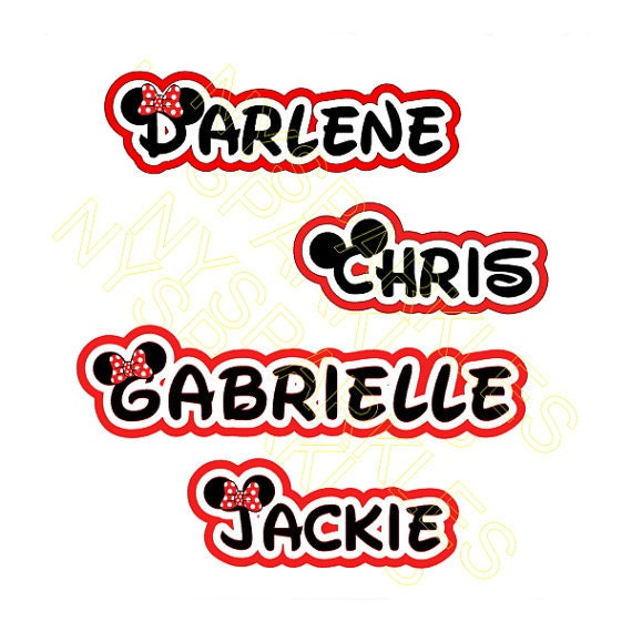 Personalized Disney Font Name In Offset Style Printed Vinyl