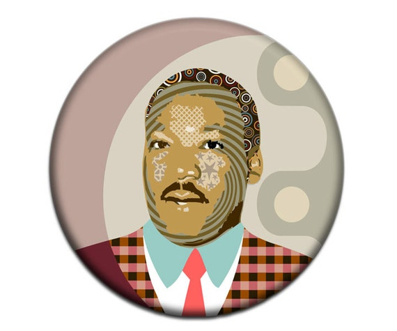 Martin Luther King Fridge Magnet, Black History, African American Gift,  Human Rights Activist,  2. 25 inches diameter,  0.25 inches
