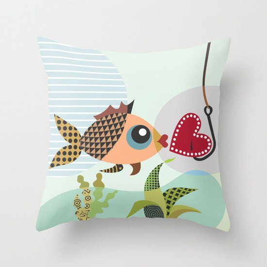 Valentine pillow gift for lovers fish throw pillow cover for Gift ideas for fishing lovers