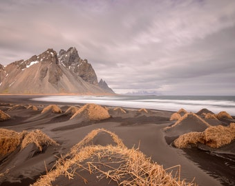 Iceland Landscape Photography Print - Vesturhorn Mountain - MetalPrint Option - 11x14 16x20 20x30 24x36 30x40