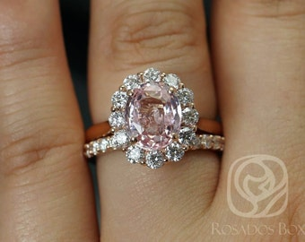 Rosados Box Katherine 3.37cts 14kt Rose Gold Oval Peachy Champagne Sapphire and Diamond Halo Classic Wedding Set