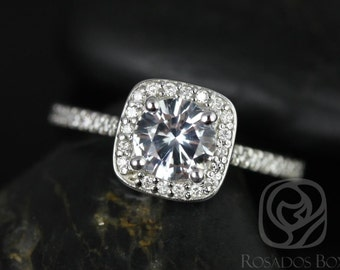 Johanna 6mm 14kt White Gold Thin Round White Sapphire Cushion Halo Engagement Ring (Other metals and stone options available)