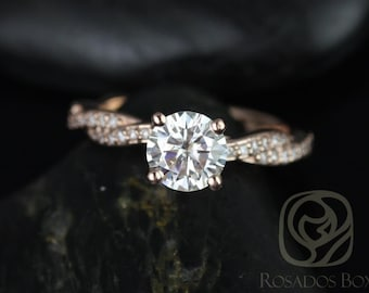 Twyla 6.5mm 14kt Rose Gold Round F1- Moissanite & Diamond Twist Engagement Ring (Other metals and stone options available)