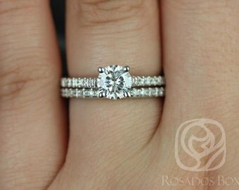 Eva 6mm Platinum Round F1- Moissanite and Diamonds Cathedral Wedding Set (Other metals and stone options available)