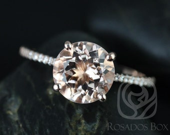 DIAMOND FREE Eloise 9mm 14kt Rose Gold Round Morganite and White Sapphire Cathedral Engagement Ring