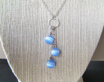 Dusty Blue Glass Beads on a Silver Necklace