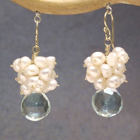 Mixed Pearls & Green Amethyst Earrings Victorian 6
