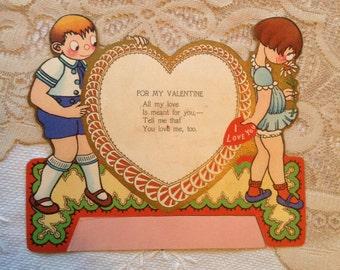 Vintage Valentine Card | Googley Eyed Girl and Boy | 1930 Paper Ephemera