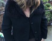 Vintage Black Jacket with Fur Collar, Neusteter's 60's