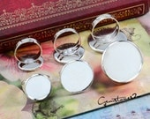 40% off -- 10pcs Brass Silver Adjustable Ring Blank With 20mm / 25mm Round Base Setting