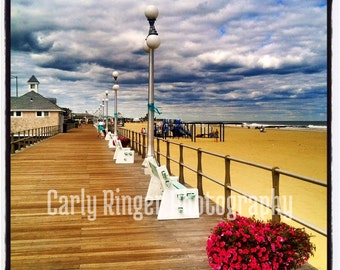 Shore - Boardwalk Bench with Flowers (Avon) Tile Coaster