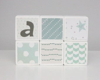 Personalized Baby Blocks -  Nursery Decor - SET OF 6 - Boy - Mint Neutral Greens Stars