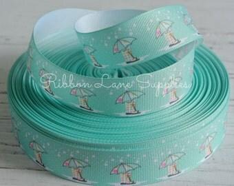 "1"" Ribbon by the Yard-Spring ribbon-Polka Dot, Umbrellas and Rain boots-Aqua grosgrain-by Ribbon Lane Supplies on Etsy"