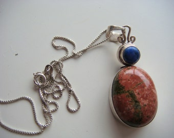 Unakite and Lapis Silver Necklace