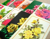 10 Vintage Rose Playing Cards - Floral Collage Pack - Scrapbooking - Valentines Day Roses - Swap Cards