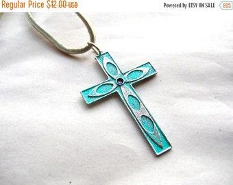 Flash Sale Bohemian Cross Necklace - Gypsy Cross Necklace - Blue Cross Necklace - Bohemian Jewelry