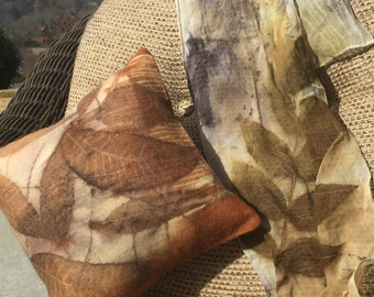Eco Print Pillow slip cover and pillow