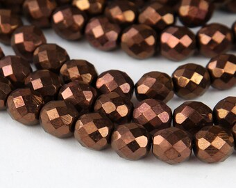 Dark Bronze Czech Glass Beads, 10mm Faceted Round - 25 pcs - e14415-10