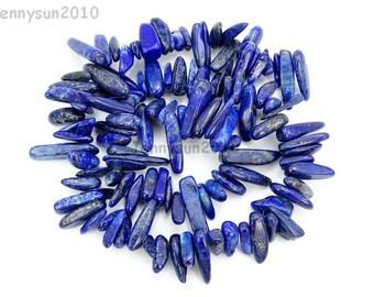 Natural Lapis Lazuli Gemstone Freeformed Stick Beads 16'' Great For Jewelry Design