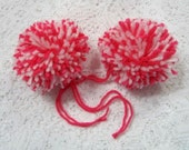 Bright Pink and White Yarn Pom Poms Handmade - Set of 2 Large Hat Pom Poms Package Ties