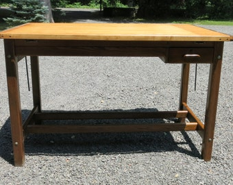 Vintage Hamilton Drafting Table 4 Post